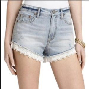 Free People Distressed Lace trim shorts